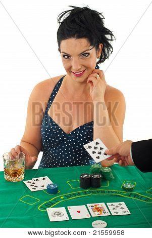 Beauty Woman In Casino