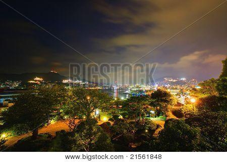 Nightscape from Glover Garden in Nagasaki, Japan