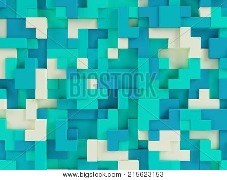 Abstract 3d geometric constructor colorful