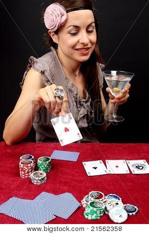 Woman Gambling At The Casino
