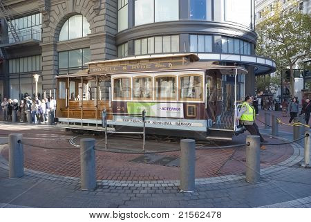 San Francisco - November 2008: The Cable Car Tram, November 7Th, 2008 In San Francisco, Usa. The San