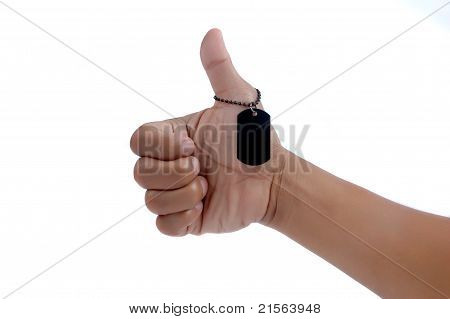 Thumbs Up And A Black Metal Blank Tag