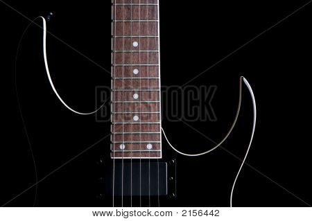 Electric Guitar Silhouette Isolated On Black