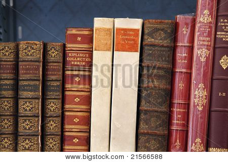 Antiquarian Books Displayed On A Stall