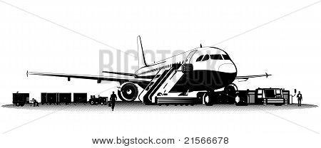 Vector airplane on aerodrome
