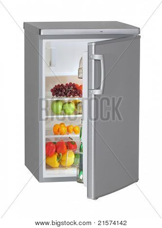One door INOX refrigerator isolated on white