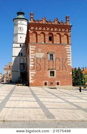 Sandomierz - May 11: Old town hall in Sandomierz, Poland. The town hall was build in the XIV century and the tower was build in the XVII century on May 11, 2011 in Sandomierz, Poland.