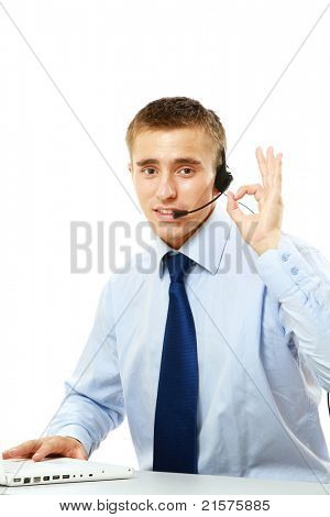 A male customer service consultant working