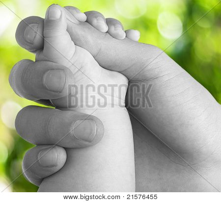 adult hand holding a baby hand closeup, black and white