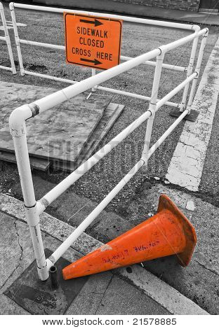 Construction Site and Signs, Selective Color