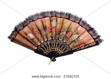 Faltreifen Fan gemustert Blumen Tuch