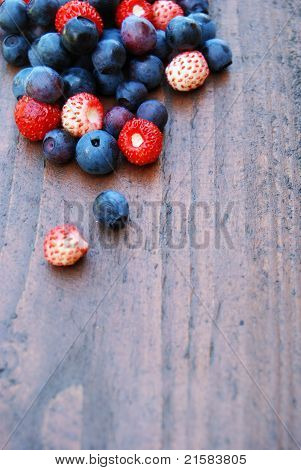 Blueberries And Wild Strawberries