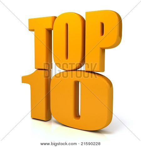 Top 10 words over white background
