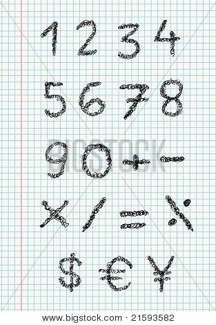 Scribble Numbers On Squared Paper