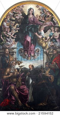 Virgin Mary with angels and saints