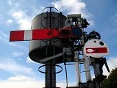 picture of bowser  - Red rail way signal and water bowser - JPG