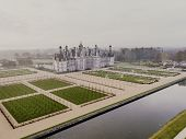 Aerial view of the castle of Chambord with its new gardens, autumne, instagram filtered poster