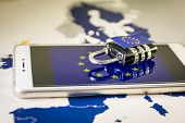 Padlock Over A Smartphone And Eu Map, Gdpr Metaphor poster