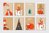 Hand Drawn Vector Abstract Fun Merry Christmas Time Cartoon Cards Collection Set With Cute Illustrat poster
