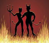 stock photo of she devil  - illustration of She Devil and He Devil dancing in fire - JPG
