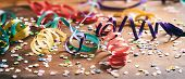 Colorful Confetti And Serpentines On Wooden Background poster