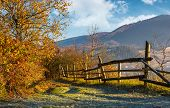 Autumn Rural Scenery With Fence On Hillside poster