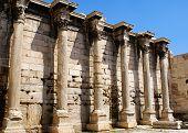 stock photo of akropolis  - A photo of greek pillars under Akropolis Athens - JPG