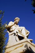 foto of socrates  - Photo with marble of Socrates statue in Athens - JPG