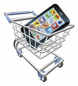 stock photo of grocery-shopping  - An illustration of a shopping cart trolley with smart phone mobile phone - JPG