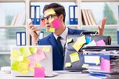 Businessman with reminder notes in multitasking concept poster