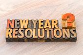 New Year resolutions question - word abstract in vintage letterpress wood type blocks poster