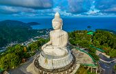 Blue Sky And Blue Ocean Are On The Back Of Phuket Big Buddha. poster