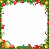 Christmas Tree Decorated Frame Isolated On White Background With poster