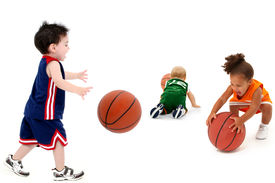 stock photo of playmate  - Three rival teams with balls in uniform over white - JPG