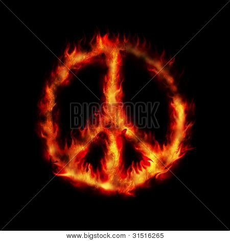 Burning Hippy Antiwar Peace Sign