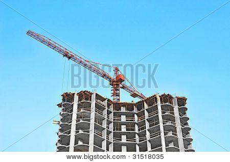Guindaste e construção site