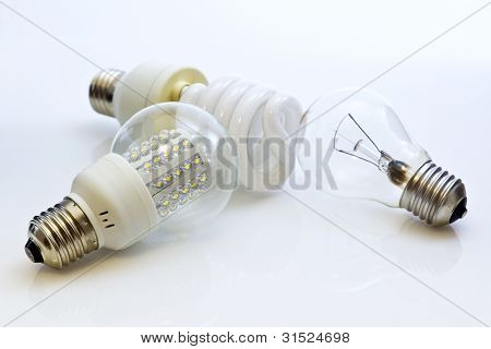 Different Types Of Bulbs E27 (fluorescent, Wolfram, Leds)