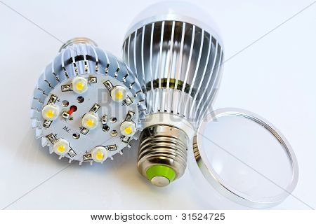 Two Led Light Bulbs With 1 Watts Smd Chips One Of Them  Without Cover Glass