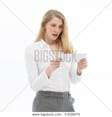 Woman Reading Bad News
