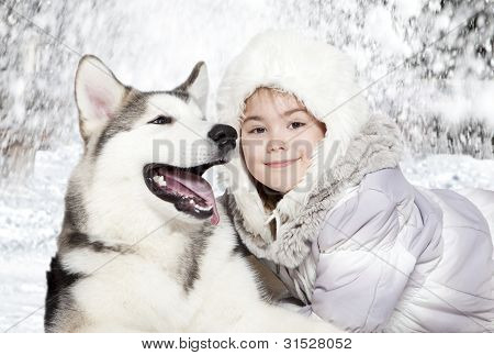 Malamute With A Girl