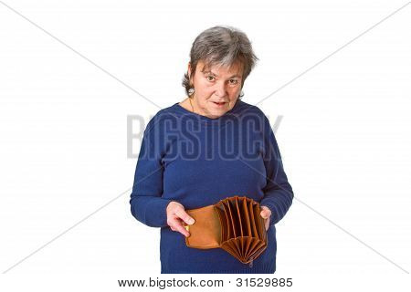 Female Senior Showing Empty Wallet