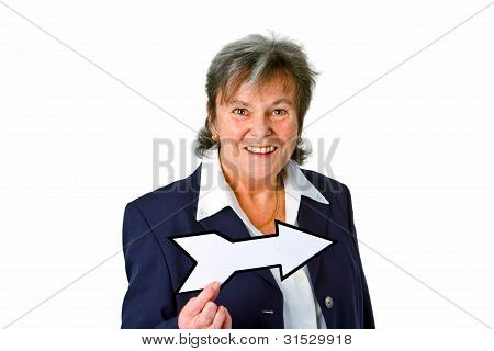 Female Senior With Blank Arrow