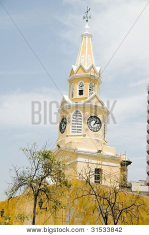 Clock Tower The Wall Walled City Cartagena Colombia South America
