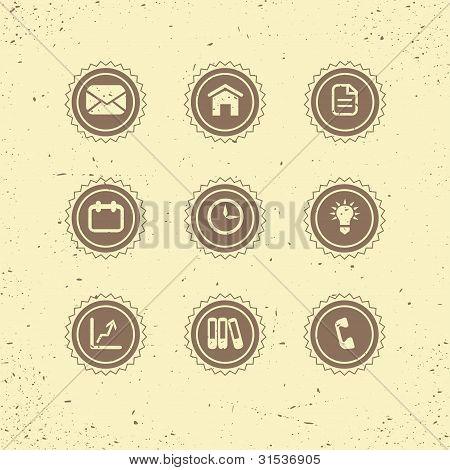 Set of retro icons: business theme.