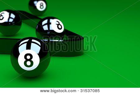 Grupo de ocho bolas piscina verde Table.copy espacio para texto a la derecha.