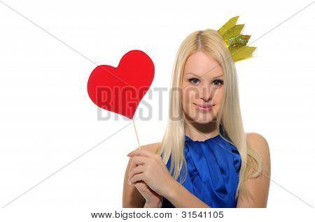 Mujer con corona y varita mágica de corazón