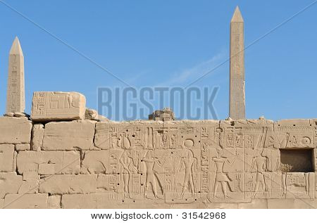 Obelisks At Precinct Of Amun-re In Egypt