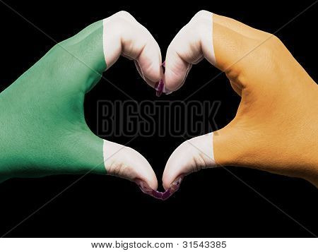 Heart And Love Gesture By Hands Colored In Ireland Flag For Tourism