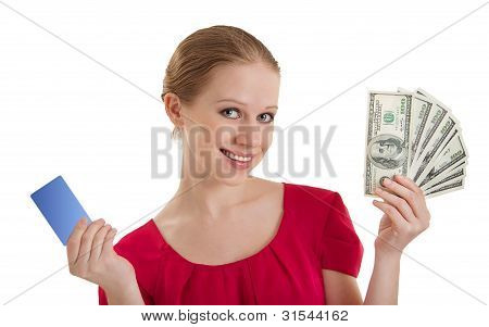 Beautiful Young Woman Chooses Between A Credit Card, Cash Money, American Dollars Isolated