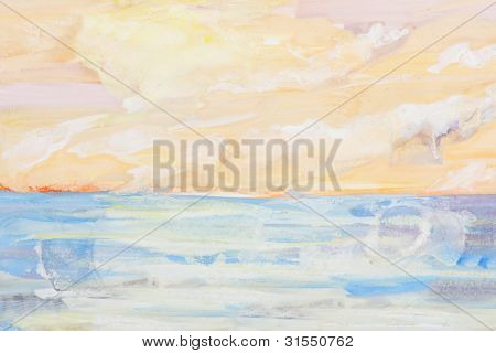 Sea Landscape And Sunset Painting